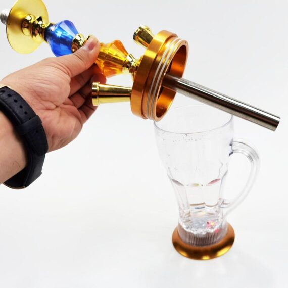 """16"""" Golden Glass Water Pipe Hookah-Narguile W/ Lights"""