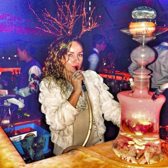 """20"""" Tall Glass Water Pipe Hookah-Narguile W/ Lights"""