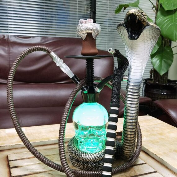 "17"" Deluxe Glass Water Pipe Hookah-Narguile W/ Lights (Cobra/Skull Design)"